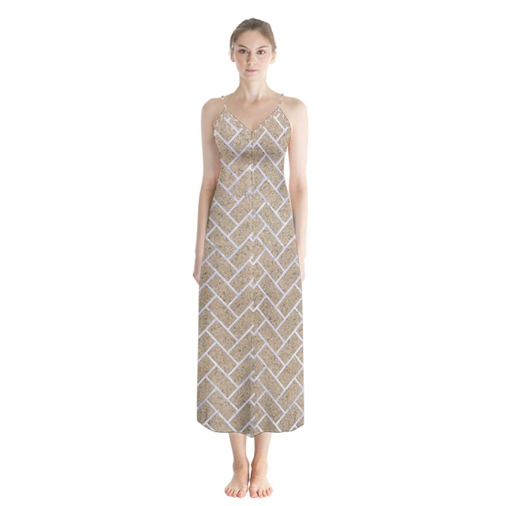BRICK2 WHITE MARBLE & SAND Button Up Chiffon Maxi Dress