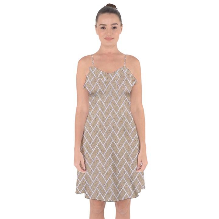 BRICK2 WHITE MARBLE & SAND Ruffle Detail Chiffon Dress