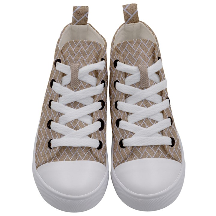BRICK2 WHITE MARBLE & SAND Kid s Mid-Top Canvas Sneakers