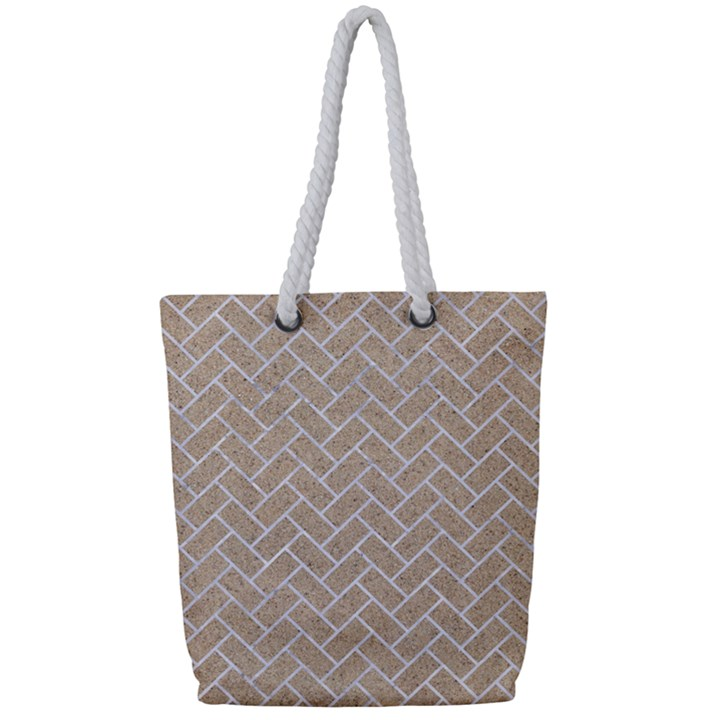 BRICK2 WHITE MARBLE & SAND Full Print Rope Handle Tote (Small)