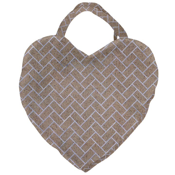 BRICK2 WHITE MARBLE & SAND Giant Heart Shaped Tote