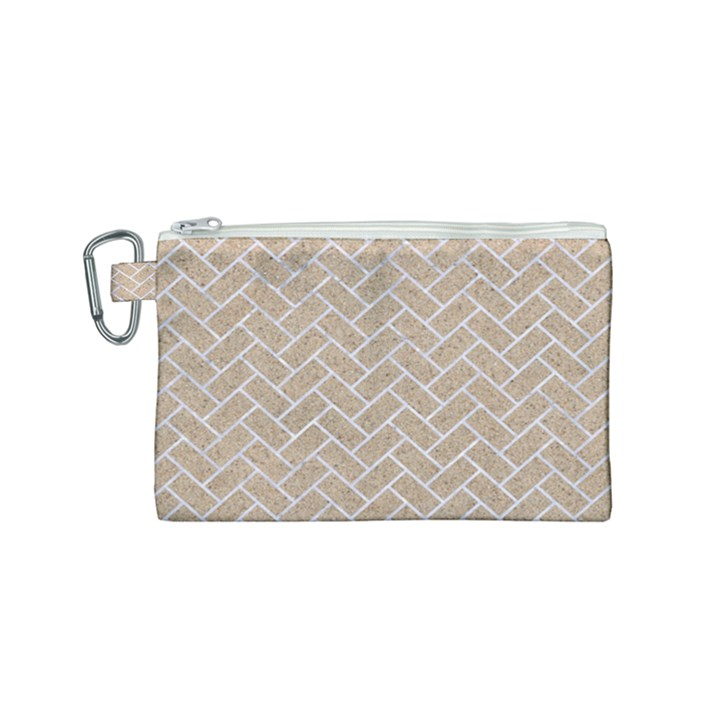BRICK2 WHITE MARBLE & SAND Canvas Cosmetic Bag (Small)