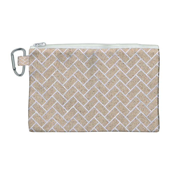 BRICK2 WHITE MARBLE & SAND Canvas Cosmetic Bag (Large)