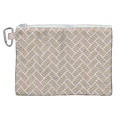 Brick2 White Marble & Sand Canvas Cosmetic Bag (xl)