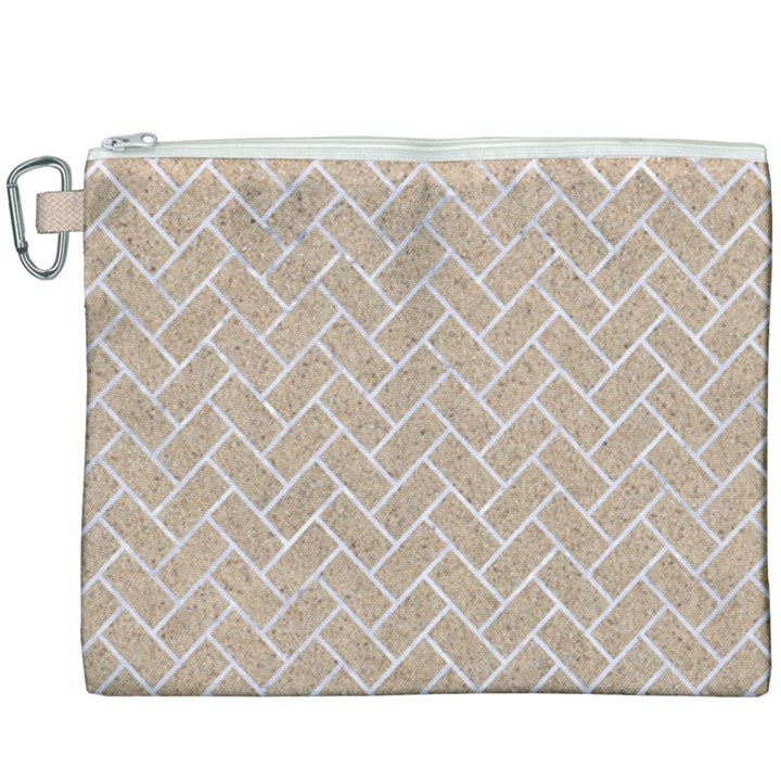 BRICK2 WHITE MARBLE & SAND Canvas Cosmetic Bag (XXXL)
