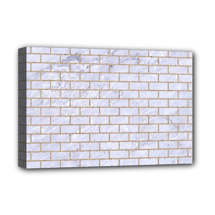 BRICK1 WHITE MARBLE & SAND (R) Deluxe Canvas 18  x 12