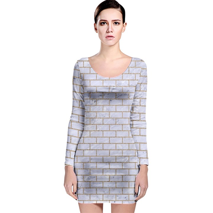BRICK1 WHITE MARBLE & SAND (R) Long Sleeve Bodycon Dress