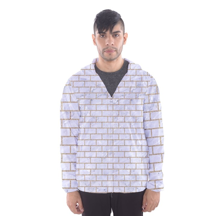 BRICK1 WHITE MARBLE & SAND (R) Hooded Wind Breaker (Men)