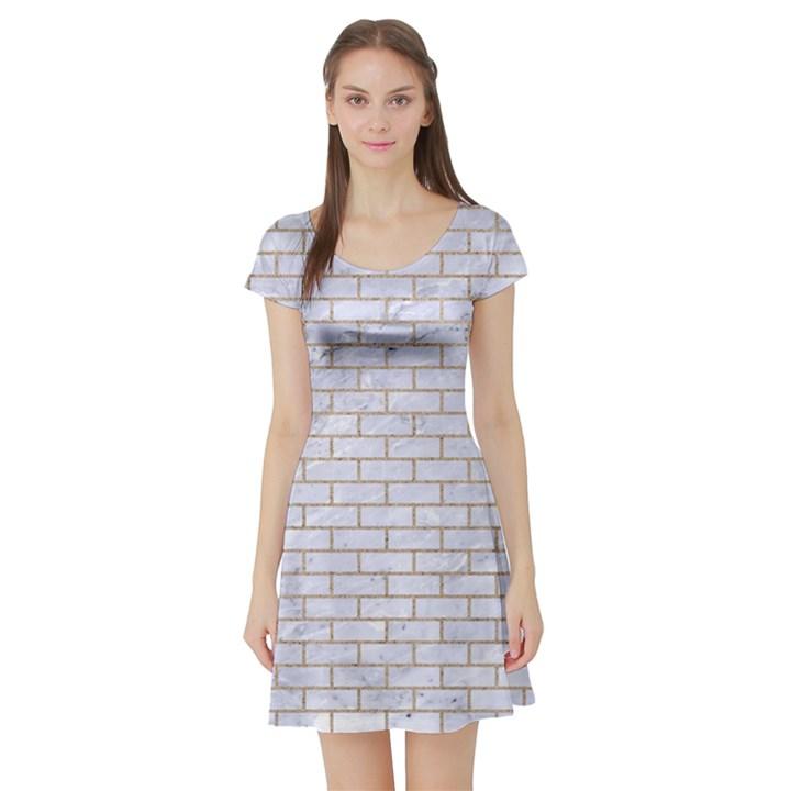 BRICK1 WHITE MARBLE & SAND (R) Short Sleeve Skater Dress