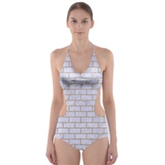 Brick1 White Marble & Sand (r) Cut Out One Piece Swimsuit