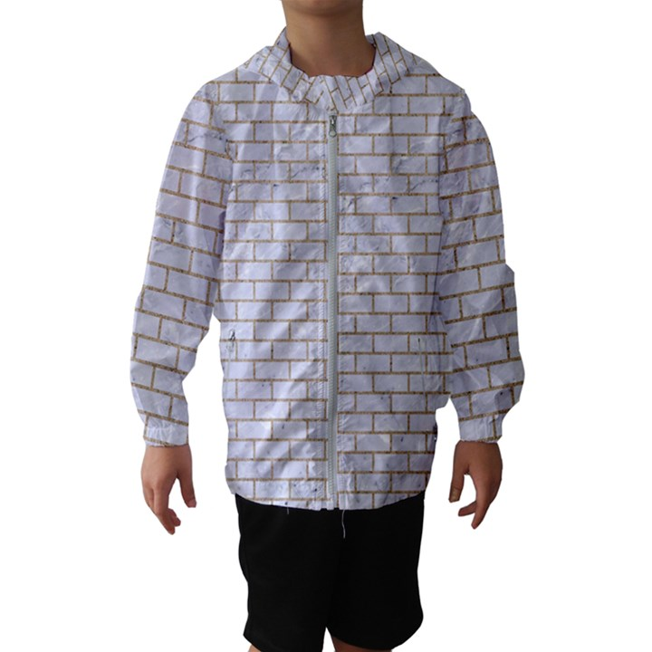 BRICK1 WHITE MARBLE & SAND (R) Hooded Wind Breaker (Kids)