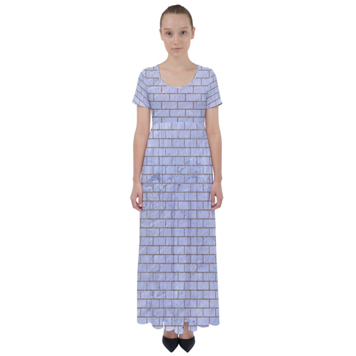 BRICK1 WHITE MARBLE & SAND (R) High Waist Short Sleeve Maxi Dress