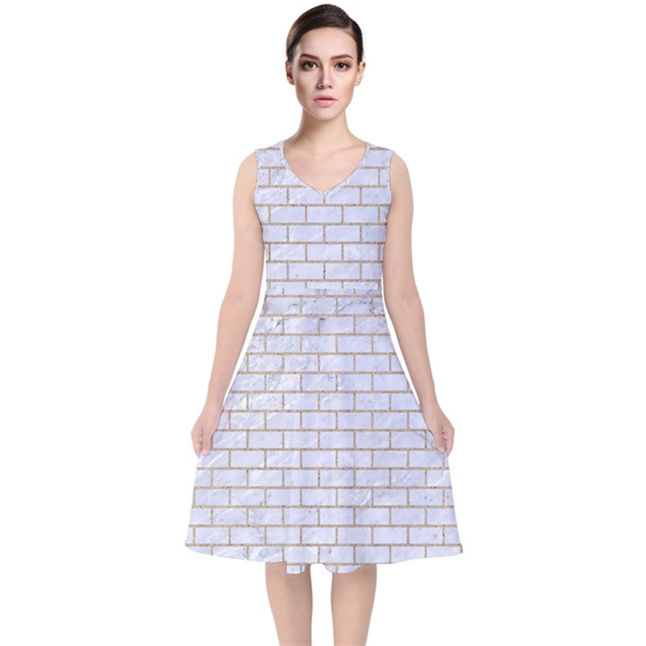 BRICK1 WHITE MARBLE & SAND (R) V-Neck Midi Sleeveless Dress