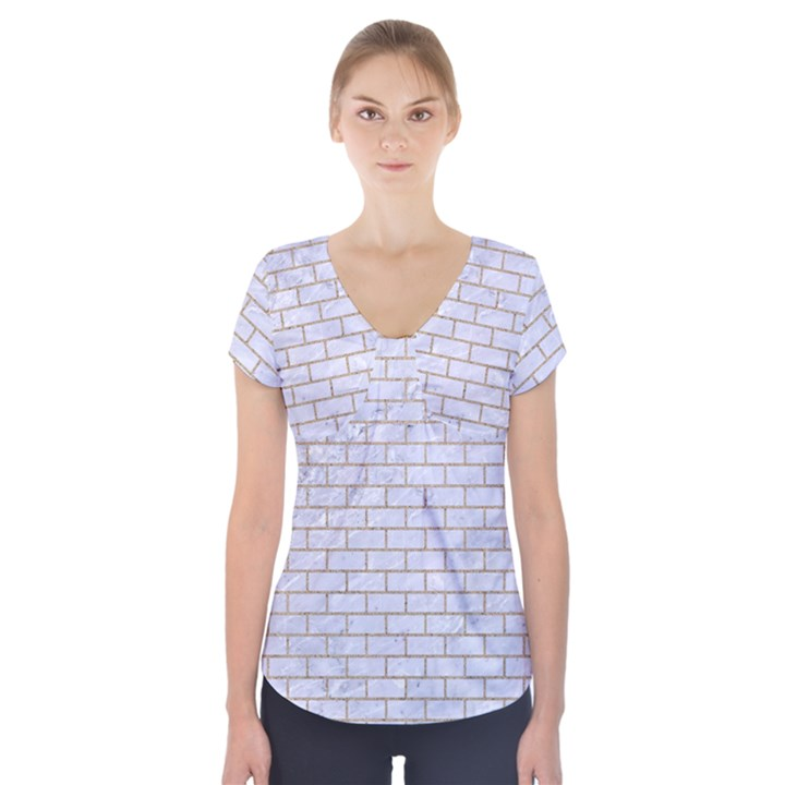 BRICK1 WHITE MARBLE & SAND (R) Short Sleeve Front Detail Top