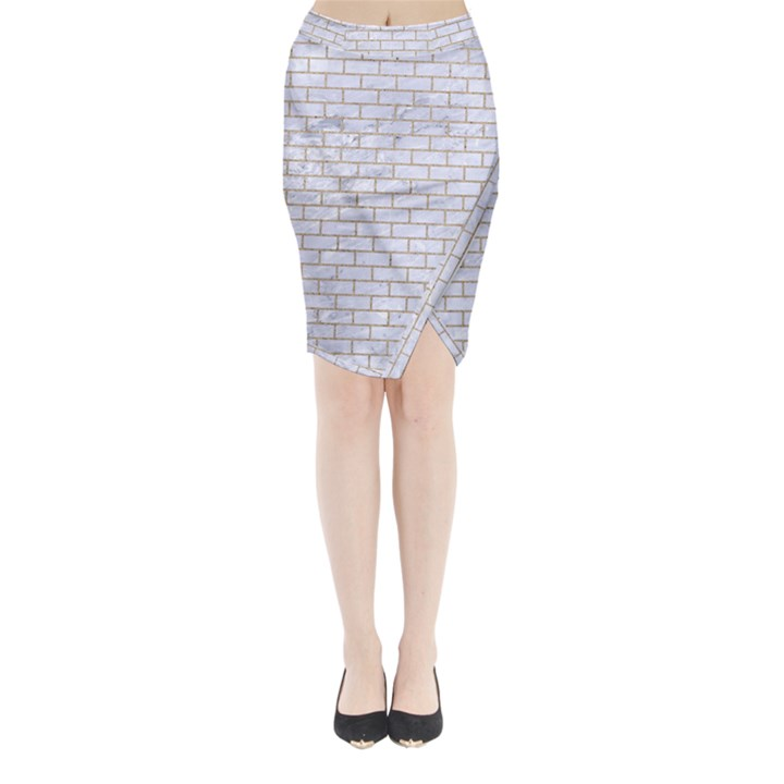 BRICK1 WHITE MARBLE & SAND (R) Midi Wrap Pencil Skirt
