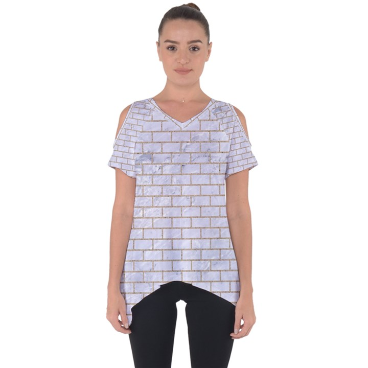 BRICK1 WHITE MARBLE & SAND (R) Cut Out Side Drop Tee