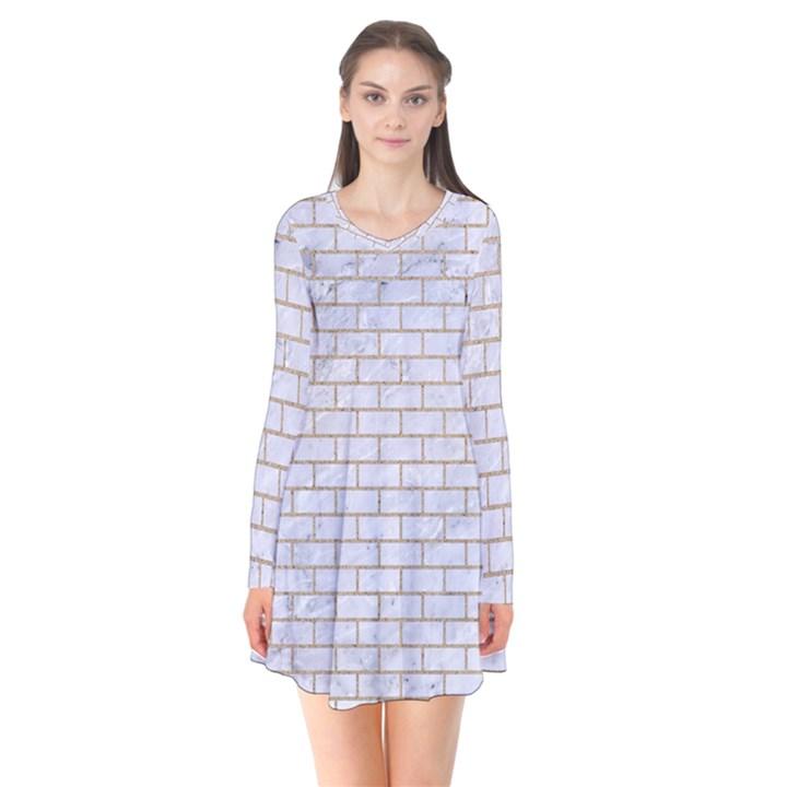 BRICK1 WHITE MARBLE & SAND (R) Flare Dress