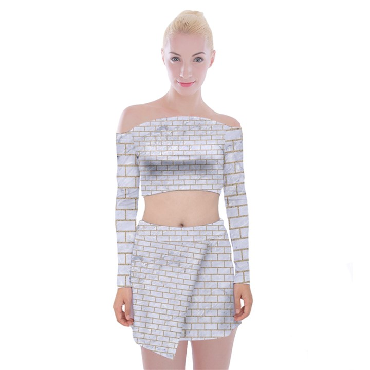 BRICK1 WHITE MARBLE & SAND (R) Off Shoulder Top with Mini Skirt Set