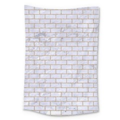Brick1 White Marble & Sand (r) Large Tapestry