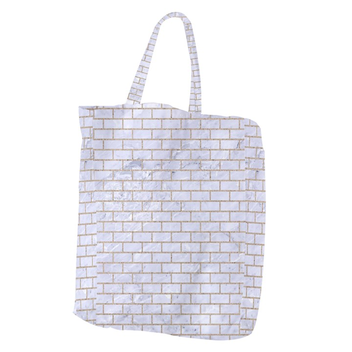 BRICK1 WHITE MARBLE & SAND (R) Giant Grocery Zipper Tote