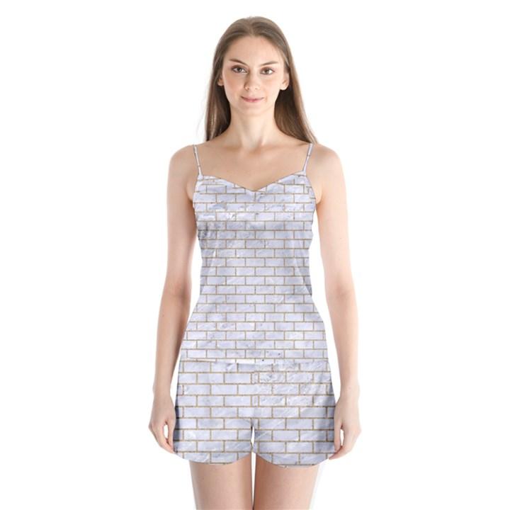 BRICK1 WHITE MARBLE & SAND (R) Satin Pajamas Set