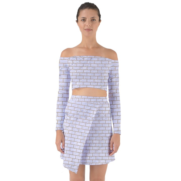 BRICK1 WHITE MARBLE & SAND (R) Off Shoulder Top with Skirt Set