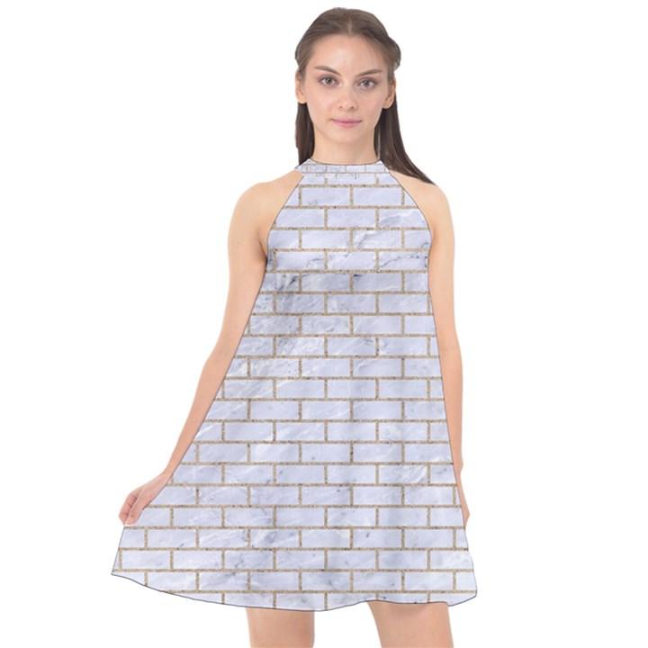 BRICK1 WHITE MARBLE & SAND (R) Halter Neckline Chiffon Dress