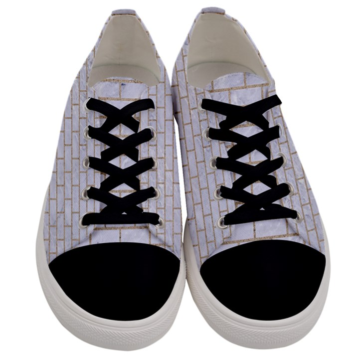 BRICK1 WHITE MARBLE & SAND (R) Men s Low Top Canvas Sneakers
