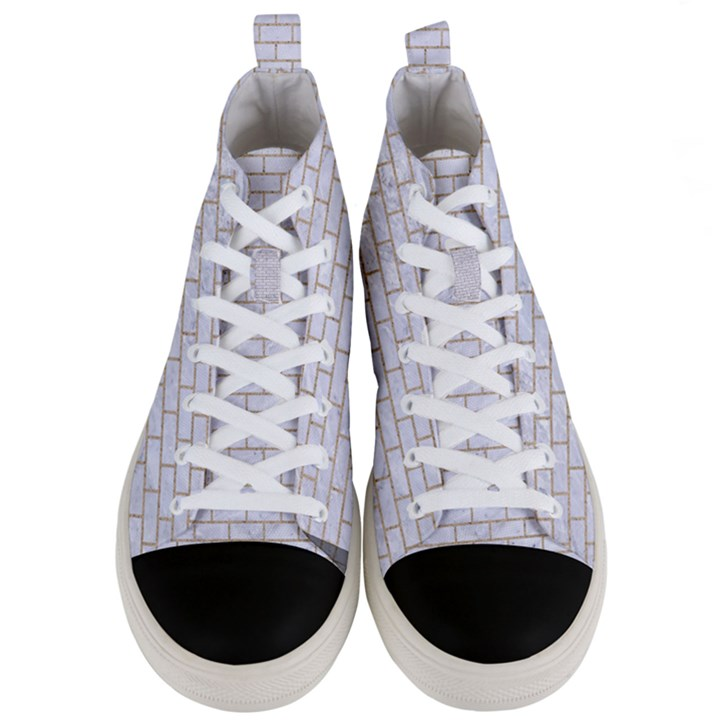 BRICK1 WHITE MARBLE & SAND (R) Men s Mid-Top Canvas Sneakers