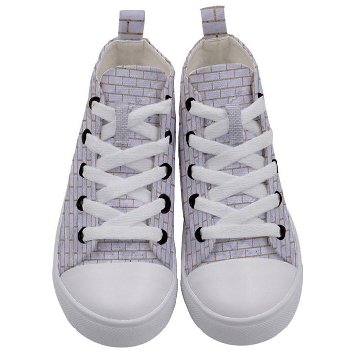 BRICK1 WHITE MARBLE & SAND (R) Kid s Mid-Top Canvas Sneakers