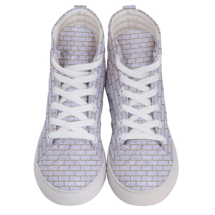 BRICK1 WHITE MARBLE & SAND (R) Men s Hi-Top Skate Sneakers
