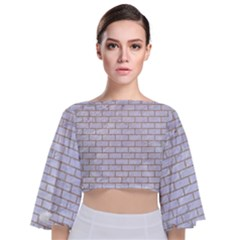 Brick1 White Marble & Sand (r) Tie Back Butterfly Sleeve Chiffon Top