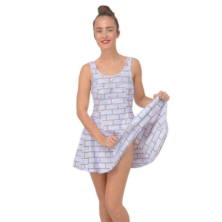 BRICK1 WHITE MARBLE & SAND (R) Inside Out Dress