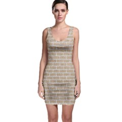 Brick1 White Marble & Sand Bodycon Dress
