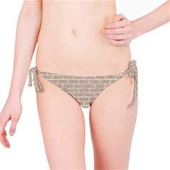 Brick1 White Marble & Sand Bikini Bottom