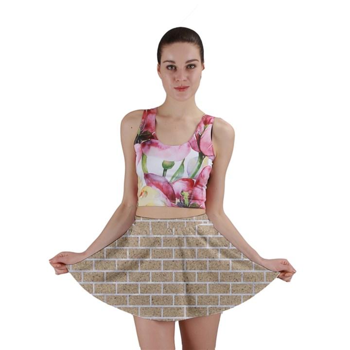 BRICK1 WHITE MARBLE & SAND Mini Skirt