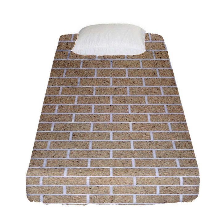 BRICK1 WHITE MARBLE & SAND Fitted Sheet (Single Size)