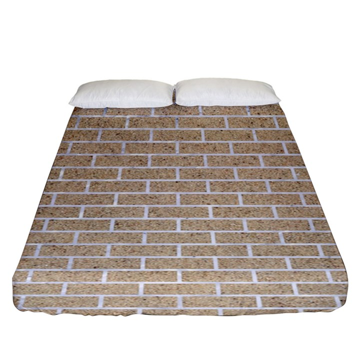 BRICK1 WHITE MARBLE & SAND Fitted Sheet (King Size)