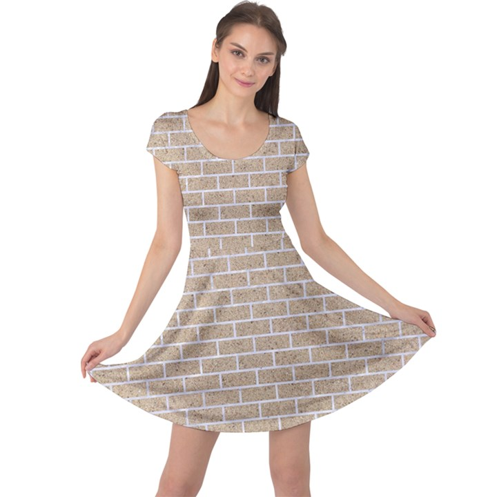 BRICK1 WHITE MARBLE & SAND Cap Sleeve Dress