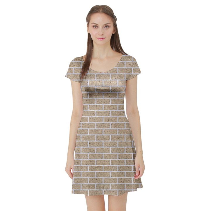 BRICK1 WHITE MARBLE & SAND Short Sleeve Skater Dress