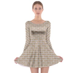 Brick1 White Marble & Sand Long Sleeve Skater Dress
