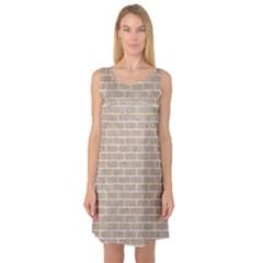 Brick1 White Marble & Sand Sleeveless Satin Nightdress