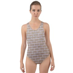 Brick1 White Marble & Sand Cut Out Back One Piece Swimsuit