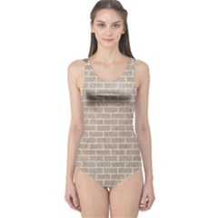 Brick1 White Marble & Sand One Piece Swimsuit