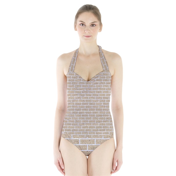 BRICK1 WHITE MARBLE & SAND Halter Swimsuit