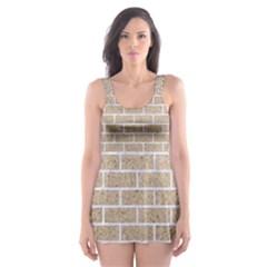 Brick1 White Marble & Sand Skater Dress Swimsuit