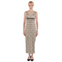 Brick1 White Marble & Sand Fitted Maxi Dress