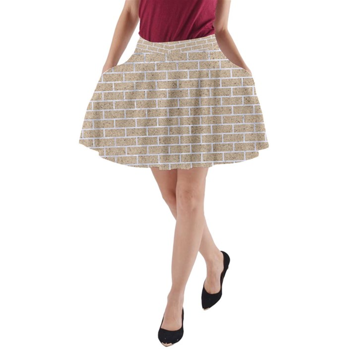 BRICK1 WHITE MARBLE & SAND A-Line Pocket Skirt