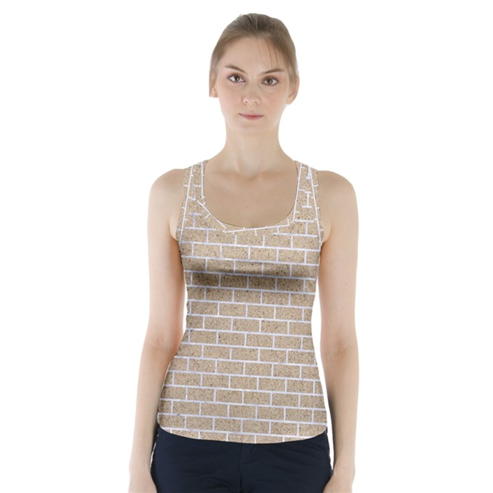 BRICK1 WHITE MARBLE & SAND Racer Back Sports Top