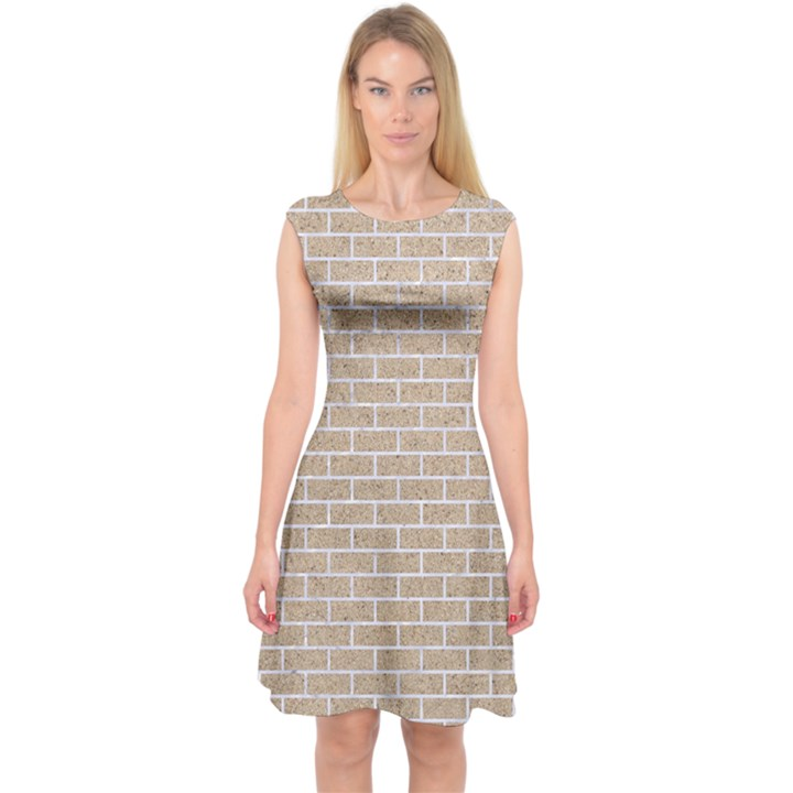 BRICK1 WHITE MARBLE & SAND Capsleeve Midi Dress
